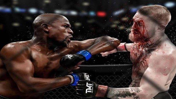 Φωτογραφία με νόημα του Mayweather για αγώνα MMA με McGregor